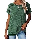 Meerway t Shirt Donna, Magliette Donna Manica Corta, Cotone,Girocollo,X-Line Decorazione sul Petto Verde XXL