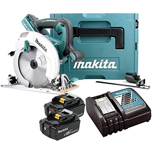 Makita DHS710ZJ 18V Twin Circular Saw 190mm with 2 x 5Ah Batteries, Charger & Case