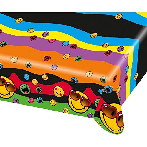 Amscan 552429 - Tischdecke Smileys, 1 Stück, Größe 120 x 180 cm, Kunststoff, wasserabweisend, mehrfarbige Motive, Express Yourself, lächelnde Gesichter, Geburtstag, Mottoparty, Karneval, Kinderparty