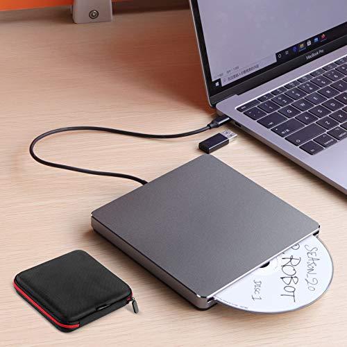 External DVD CD Drive,Biscon USB 3.0/Type-C Portable CD DVD+/-RW Burner Player Slim Slot-in CD ROM for Laptop Mac MacBook Air Pro PC Windows 10 iMac