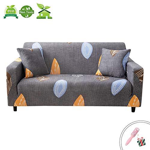 Morbuy Elastische Sofabezug L-Form Armlehnen Grau Sofaüberwürfe,Nordische Moderne Pflanze Drucken Antirutsch Sofahusse Abdeckung Couchbezug (2 Sitzer(145-190cm),Blätter)