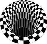 HATTIE Alfombra Ilusión 3D Vortex, Illusion Alfombra Blanca y Negra Alfombra Redonda Antideslizante Alfombrilla para área de Sala de Estar, Dormitorio, Estudio, Comedor, Lugar Comercial (60 * 60cm)