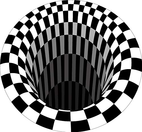 HATTIE Alfombra Ilusión 3D Vortex, Illusion Alfombra Blanca y Negra Alfombra Redonda Antideslizante Alfombrilla para área de Sala de Estar, Dormitorio, Estudio, Comedor, Lugar Comercial (100 * 100cm)