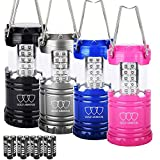 Gold Armour 4 Pack LED Camping Lantern Portable Flashlight with 12 aa Batteries - Survival Kit for Emergency, Hurricane, Power Outage Great (Multicolor)