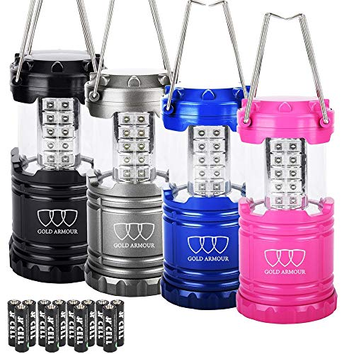 4 Pack LED Camping Lantern Portable Flashlight with 12 aa Batteries - Survival Kit for Emergency, Hurricane, Power Outage Great Christmas Gift (Multicolor)
