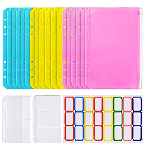 20PCS A6 Binder Pocket,6 Holes Clear Plastic Zipper Pouch Envelopes for 6-Ring Notebook Binder Loose Leaf Bags,Waterproof EVA Zipper Document Filing Bags Envelope System-Colorful