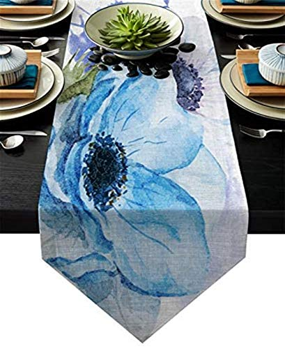 VJRQM Chemins de Table en Lin anémone de mer Bleue pour la décoration de la Maison Housse de Table pour Table à Manger,Bar,intérieur/extérieur,réglage de la Table à Usage Quotidien,13x90in