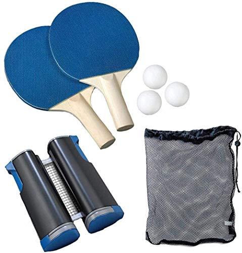 YZU Juego Profesional de paletas de Raquetas de Ping Pong, con Red Ajustable, 3 Pelotas de Ping-Pong en Bolsa de Transporte, Juego de Tenis de Mesa Extensible portatil Interior al Aire Libre