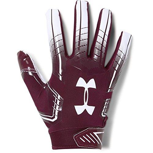 Under Armour F6 Design 2018 American Football Receiver Handschuhe - Maroon/weiß Gr. M