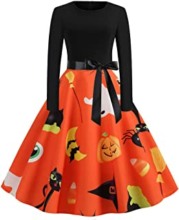 KLFGJ Women Halloween Vintage Dresses Long Sleeve 1950s Costumes Evening Party Prom Lady Dress