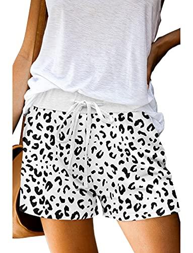 KISSMODA Summer Shorts for Women Elastic Waist Casual Basic Chic Sports Running Yoga Workout Short Pants White Leopard Large