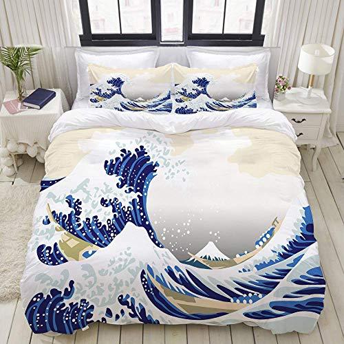 Funda nórdica, año Nuevo japonés Olas del mar del océano, Juegos de Cama Decorativos de 3 Piezas con 1 Funda de edredón y 2 Fundas de Almohada para Adolescentes y Adultos