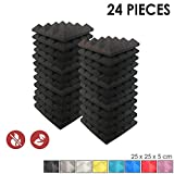 Super Dash (24 Pack) of 25 X 25 X 5 cm Pyramid Black Acoustic Home Studio Soundproof Treatment Accessories Foam Wall Panel Tiles SD1034 (BLACK)