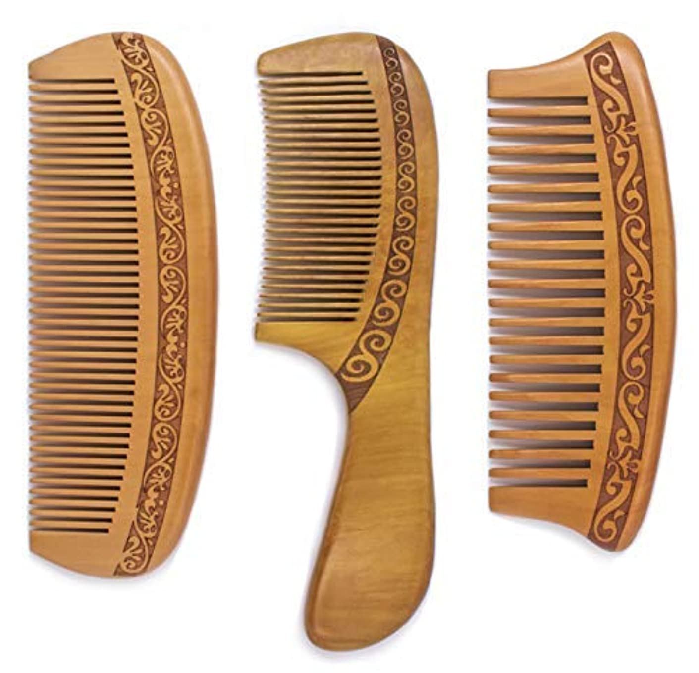 Detangling Comb, Wooden Detangling Fine and Wide Tooth Shower Comb SET, Anti-Static, Great for All Type Hair, Beard, Mustache. Made from Natural Peach Wood, 3 Pieces [並行輸入品]