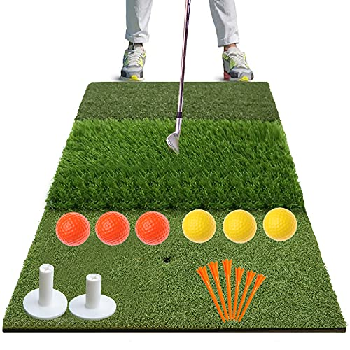 """FINGER TEN Golf Hitting Mats for Backyard Turf Grass Chipping Mat with Practice Balls Tees, Portable Rough Putting Green Pad for Driving Range Indoor Outdoor Training (Tri-Turf (16.14"""" x24.4""""))"""