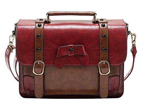 ECOSUSI Vintage Crossbody Messenger Bag Satchel Purse Handbag Briefcase for Women & Girl, Red