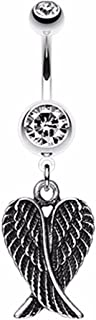 Angel Wing Heart 316L Surgical Steel Belly Button Ring