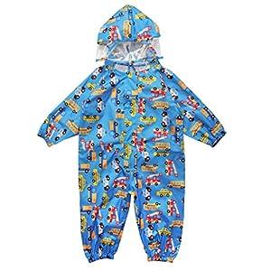 キッズ雨具、かわいいキッズレインコート 上下セット 女の子 男の子レインコート ブルー S(75-90cm)