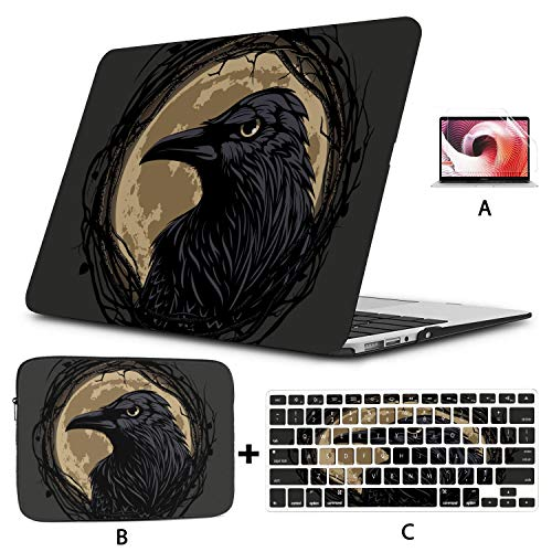 Macbook Air 1466 Case Black Raven Twig Frame On Moon Laptop Case Macbook Pro Hard Shell Mac Air 11'/13' Pro 13'/15'/16' With Notebook Sleeve Bag For Macbook 2008-2020 Version
