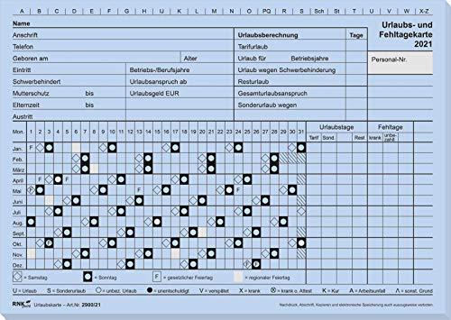 RNK 2900/20-10 - Urlaubs- und Fehltagekarte, 2020 mit grafischer Darstellung, DIN A5 quer, Karteikarton, 1 Packung à 10 Stück