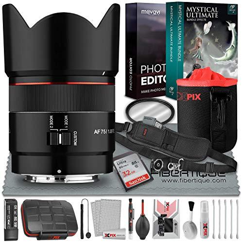 Samyang AF 75 mm f/1.8 FE Objektiv für Sony E mit 32 GB Speicherkarte, wesentliches Zubehör und professionelle Fotobearbeitungs-Software