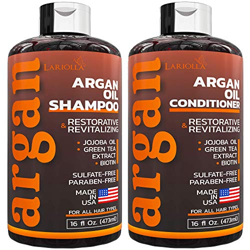 Argan Oil Shampoo and Conditioner Set - Sulfate Free - with Keratin & Jojoba Oil - Best for Damaged, Dry - Volumizing & Moisturizing - Gentle on Curly & Color Treated Hair - 16 fl oz x 2