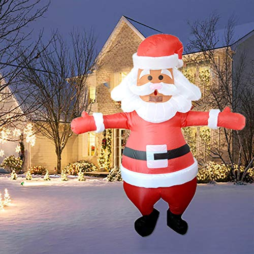JIANGUO 150cm Christmas Inflatables Santa Claus, Xmas Blow Up Outdoor Decorations LED Lights Holiday Yard Lawn Garden Indoor Xmas Decor Prop, Outdoor Garden Toys (A)