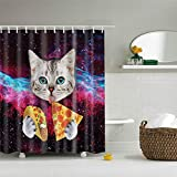 Fansu Duschvorhang Anti-Schimmel, 3D Drucken 100prozent Polyester Bad Vorhang Wasserdicht Anti-Bakteriell mit C-Form Kunststoff Haken mit 12 Ringe für Badzimmer (Pizza Katze,90x180cm)
