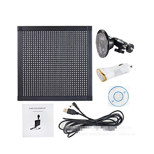 HJJH Bildschirm LED-Anzeige Controlled Emoji, Auto-LED-Display-Bildschirm, Bluetooth-LED Auto-Zeichen Fahrzeugsicherheit Expression Licht Zeichen-Brett mit 12V Auto-Zigarettenanzünder und Saugnäpfen
