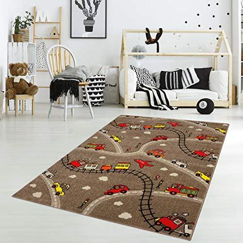 carpet city Kinderteppich Spielteppich Flachflor Junior mit Auto/Straße/Eisenbahn-Motiv in Braun/Rot für Kinderzimmer: Größe 133x190 cm