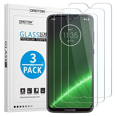 OMOTON [3 Stück] Panzerglas Schutzfolie für Motorola Moto G7/ Moto G7 Plus (6.2 Zoll), 9H Härte, Anti-Kratzen, Anti-Öl, Anti-Bläschen,Kristall-klar