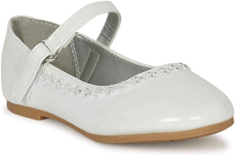 Alrisco Toddler/Little Girls Round Toe Rhinestone Mary Jane Rhinestone Ballet Flat SG46 - White Patent (Size: 8 Toddler)