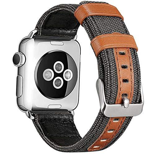 GTOO Cinturino di Ricambio Compatibile Apple Watch series 1 2 3 4 5 42mm 44mm Tela Tessuto Pelle Cuoio Fibbia iWatch uomo donna accessori (Grigio Scuro)