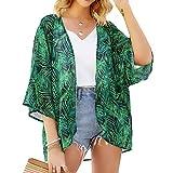 YONHEE - Chal holgado de gasa con estampado floral de gasa para la playa, estilo bohemio, para verano, casual, traje de baño Verde verde L