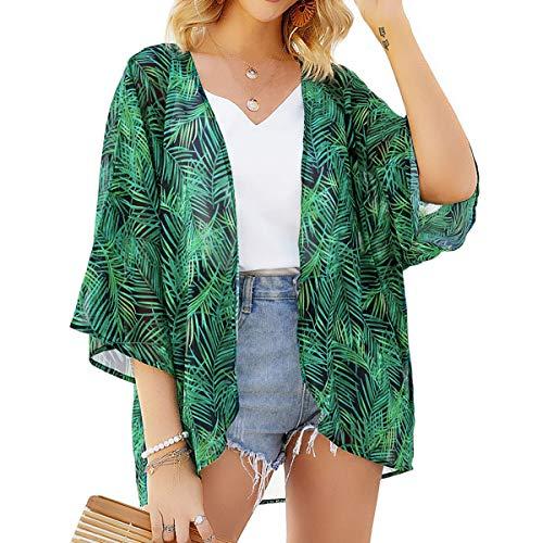 Yonhee - Kimono para mujer, diseño floral, para playa, estilo boho Verde verde L