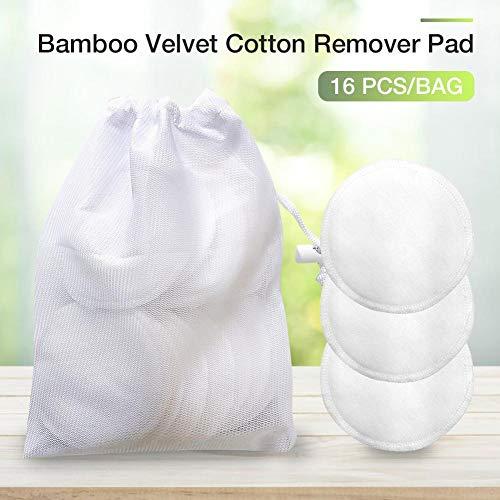 Seasons Shop 16 PCS Tampons Nettoyantes pour Visage Tampons Demaquillante Coton Reutilisable, Disque Exfoliant Coton Naturelle Écologique - 8cm Like-Minded