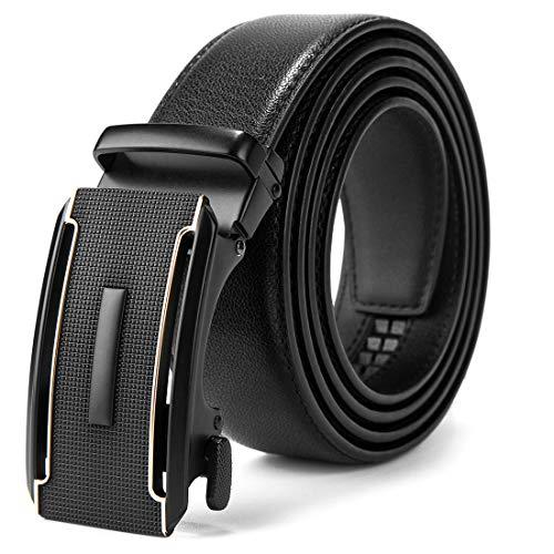 MUCO cinturón hombre cinturon automatico de trinquete, ancho de banda de cuero 3.5 cm,El cuero no se romperá,caja de regalo… (Ropa)