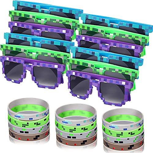 24 Piezas Set de Fiesta de Minero Incluye 12 Pulseras Temáticas Pixeladas y 12 Gafas de Sol de Jugador de Píxeles Gafas Pixeladas de Sol para Niños Adultos Favores de Fiesta de Cumpleaños