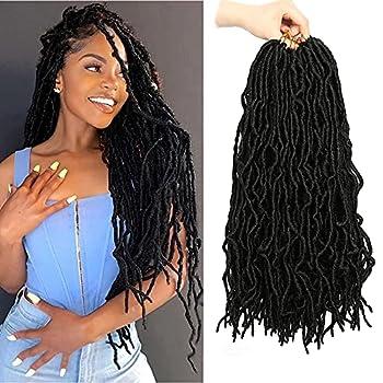 18 Inch 6 Packs Soft Locs Crochet Hair Faux Locs Crochet Hair Pre-Looped Soft Goddess Locs Curly Wavy Crochet Braids Hair for Women  18 Inch 1B#