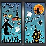 UMIPUBO Halloween Pegatinas Halloween Calcomanías de la Ventana Pegatinas de Pared Decoración Luna bruja parca Pegatina Estáticas Impermeables para Hogar Tienda y Escuela (A)