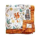 Gauze Bath Towel Soft Newborn, Bamboo Summer Blanket for Toddler 6 Layers Muslin Baby Blanket Toddler Blanket- Large, Ultra-Soft Lightweight for Baby Stroller Blanket (Orange)