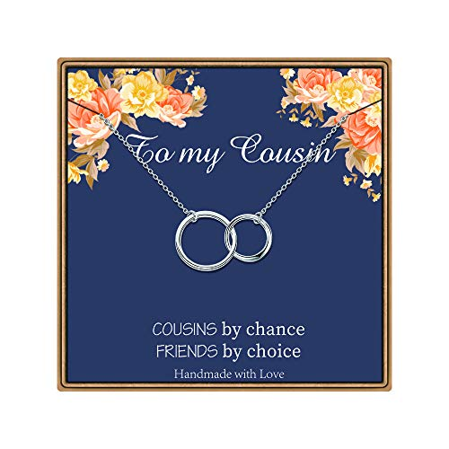 PAERAPAK Cousin Gifts, Infinity Circles Necklace Cousin Gifts for Women Cousin Necklaces Cousin Birthday Gifts Best Cousin Gifts