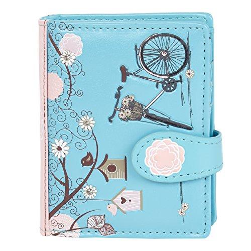Shagwear ® Portemonnaie Geldbörse Damen Geldbeutel Mädchen | Bifold Mehrfarbig Portmonee Designs: (Retro Postkarte blau/Vintage Post Card -Blue)