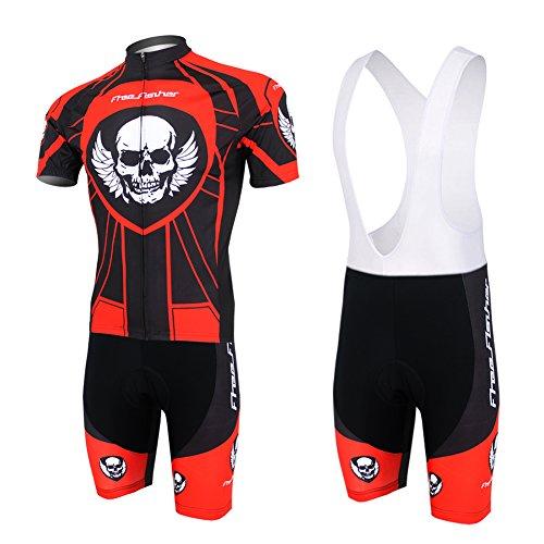 LPATTERN - Radsport-Bekleidung für Herren in Rot und Schwarz Knochen D, Größe L