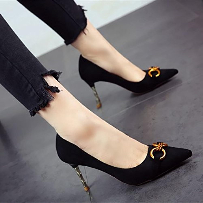 FLYRCX Scharfe stilvolle hohen europäischen Stil Frauen Heels seicht Wildleder elegant Temperament single schuhe party Schuhe  | Trendy