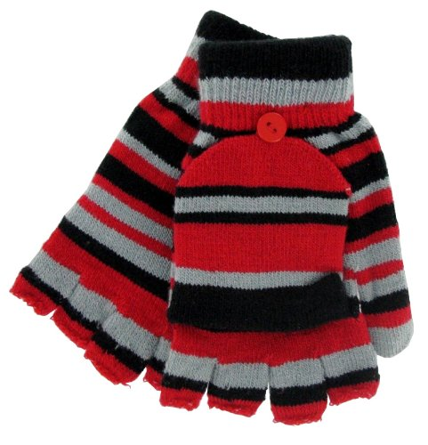 """Magic """"Striped"""" Convertible Gloves/mittens - Many Colors (Black/Red)"""