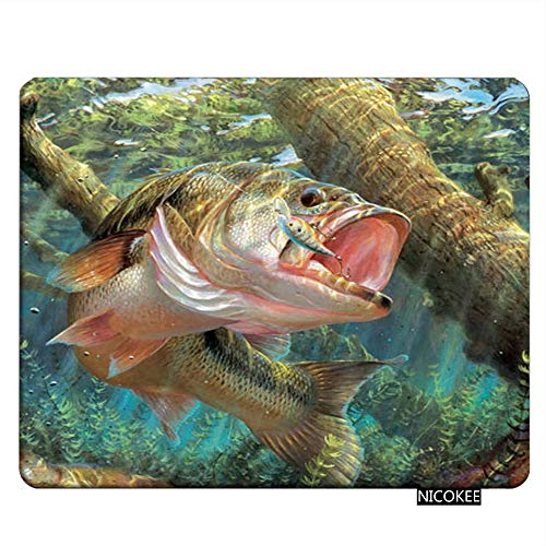 Nicokee Fish Gaming Mousepad Bass Fish Jumping Hook Mouse Pad Rectangle Mouse Mat for Computer Desk Laptop Office 9.5 X 7.9 Inch Non-Slip Rubber
