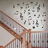 Dailinming PVC Wall Stickers 42 Vinyl Music Musical Notes Variety Pack Wall Decor Decal Sticker 70X50CM
