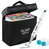 OLEEP 60 Colores Rotulador permanente de graffiti con doble punta, para dibujar bocetos de arte, pintar, colorear y subrayar
