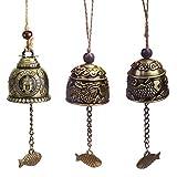 NALCY Fengshui Windspiele, 3 Stücke Vintage Dragon Bell, Chinesische Antike Klangspiele Windspiele, Weinlese Drache Muster, Abwehr des Bösen, für Hausgarten Hängen Glück Segen